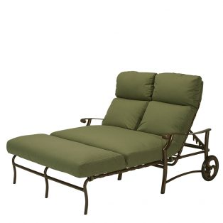 Tropitone Montreux aluminum double chaise lounge with wheels