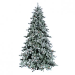 9' Iced aspen artificial christmas tree - clear lights