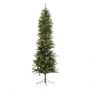 7.5' Pencil one plug artificial christmas tree - clear lights