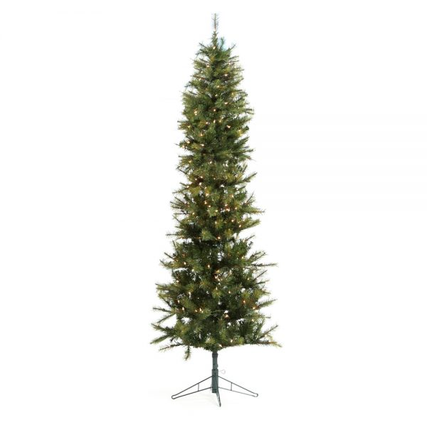 9' Pencil one plug artificial Christmas tree - clear lights
