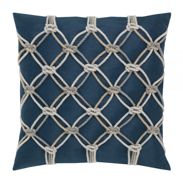 "20"" square outdoor throw pillow from Elaine Smith - Indigo Rope"