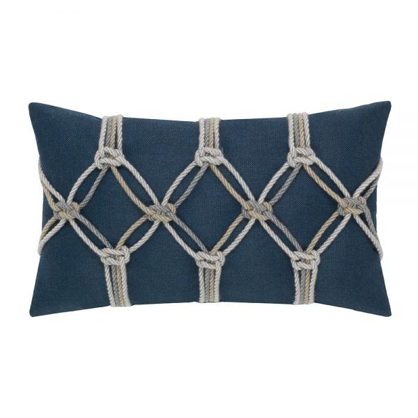Elaine Smith Indigo Rope designer outdoor lumbar pillow
