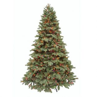 8' Northwest one plug artificial Christmas tree - multi colored lights