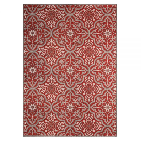 """Mosaic Red 7'10"""" x 10' outdoor area rug from Treasure Garden"""