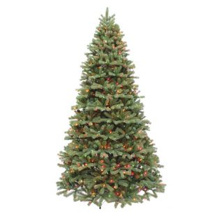 9' Alaskan pine artificial Christmas tree with multi colored lights