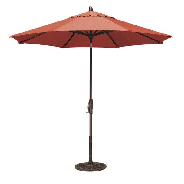 9' Market umbrella with auto tilt - Jockey Red
