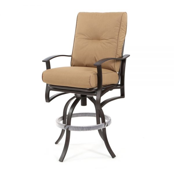 """Albany outdoor 30"""" swivel barstool with Spectrum Caribou cushions"""