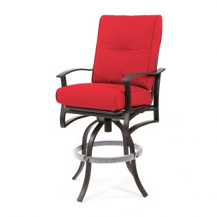 "Albany outdoor 30"" swivel bar stool with Flagship Ruby cushions"