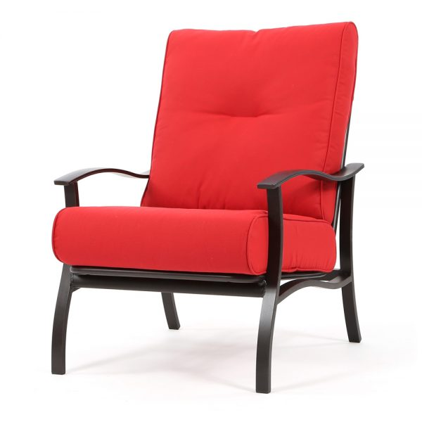 Albany aluminum club chair with Flagship Ruby cushions