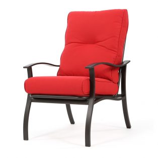 Albany aluminum dining chair with Flagship Ruby cushions