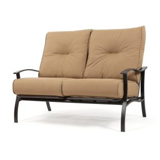 Albany outdoor loveseat with Spectrum Caribou cushions