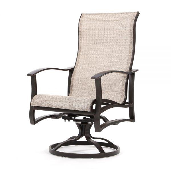 Albany sling outdoor high back aluminum swivel rocker dining chair