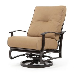 Albany outdoor spring swivel club chair with Spectrum Caribou cushions