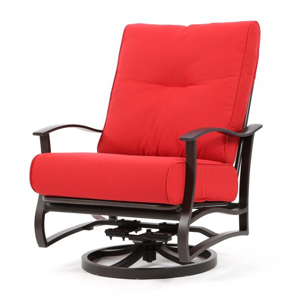 Albany outdoor spring swivel club chair with Flagship Ruby cushions