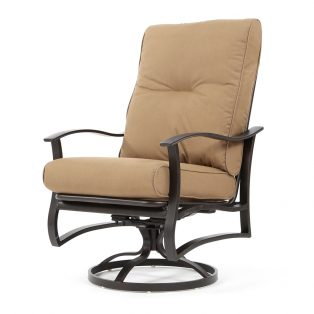 Albany aluminum swivel rocker with Spectrum Caribou cushions