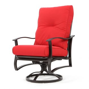 Albany outdoor swivel rocker dining chair with Flagship Ruby cushions