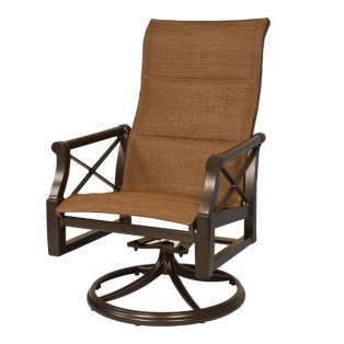 Andover high back padded sling swivel rocker dining chair