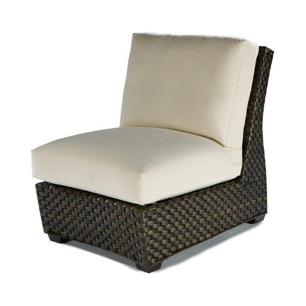 Leeward wicker armless lounge chair with cushions