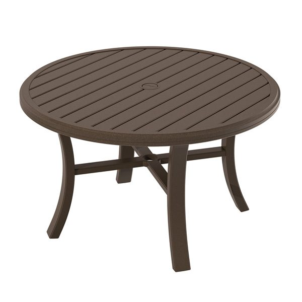 "Tropitone Banchetto 42"" round slat top chat table"