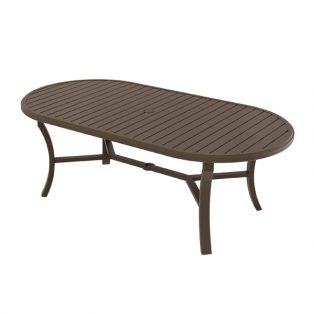 "Banchetto 42"" x 84"" oval slat top dining table"