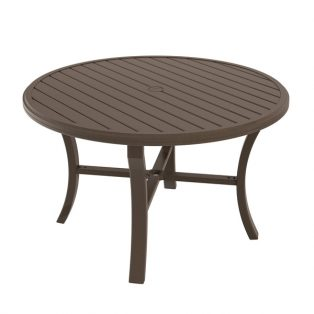 "Banchetto 48"" round slat top dining table"
