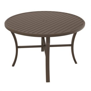 "Banchetto 60"" round slat top dining table"