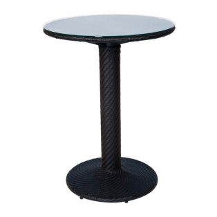 "Barlow 30"" round wicker bar table woven top with glass - Dark Roast finsih"