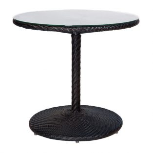 "Barlow 30"" round wicker bistro table woven top with glass - shown with a Dark Roast finish"