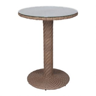 "Barlow 30"" round wicker bar table woven top with glass - Bronze Teak finish"