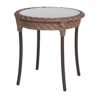 "Barlow 22"" round wicker end table with glass - Bronze Teak finish"