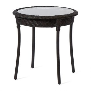 "Barlow 22"" round end table with glass top - Dark Roast finish"