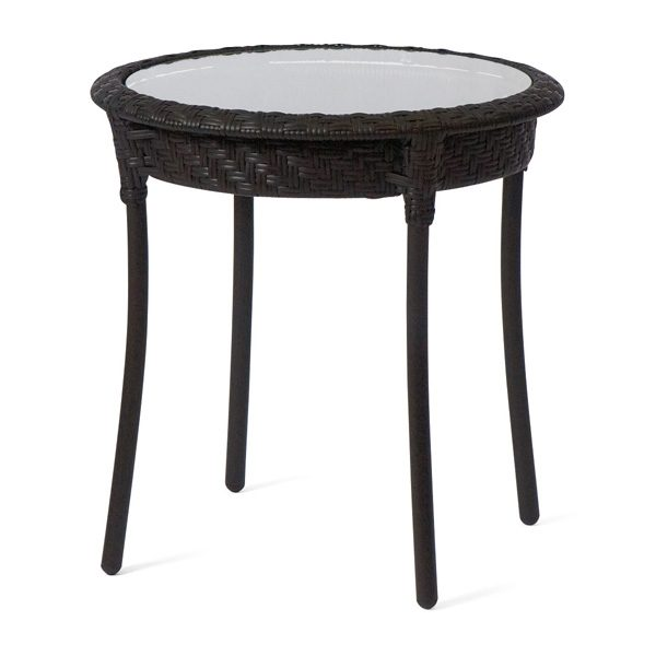 """Barlow 22"""" round end table with glass top - Dark Roast finish"""