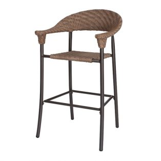 Barlow wicker stationary barstool with a Bronze Teak finish