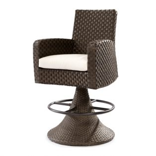 Leeward wicker swivel bar stool with cushion