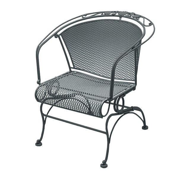 Briarwood barrel back wrought iron coil spring chair