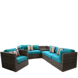 Bellanova large wicker sectional group - Spectrum Peacock