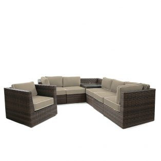 Bellanova large wicker sectional group - Spectrum Mushroom