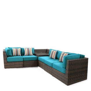 Bellanova large wicker sectional set - Spectrum Peacock