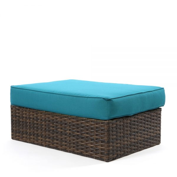 Bellanova wicker ottoman coffee table with Spectrum Peacock fabric