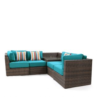 Bellanova wicker sectional set - Spectrum Peacock