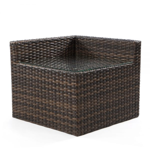 Bellanova wicker corner end table with glass