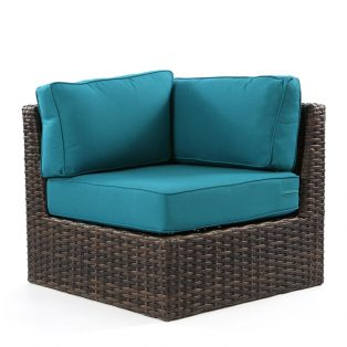 Bellanova wicker corner section with Spectrum Peacock cushions