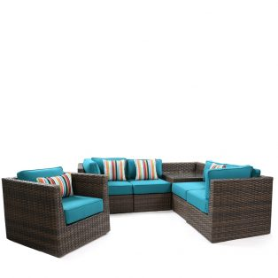 Bellanova wicker sectional group - Spectrum Peacock