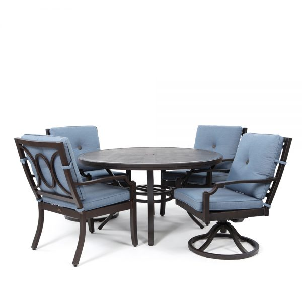 Bellevue 5 piece dining group with Spectrum Denim fabric