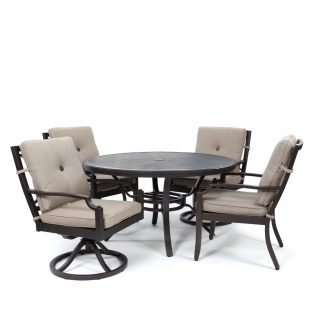 Bellevue 5 piece outdoor dining group with Sailcloth Shadow cushions