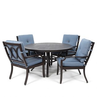 Bellevue 5 piece dining set with Spectrum Denim cushions