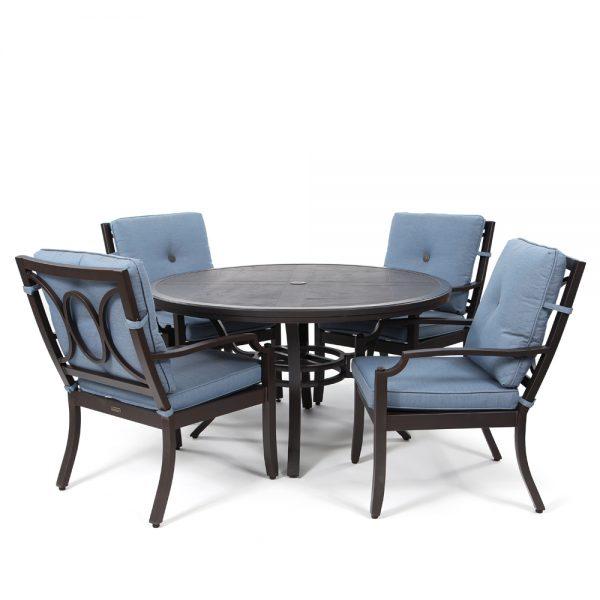 Bellevue 5 piece dining set with Spectrum Denim cushions