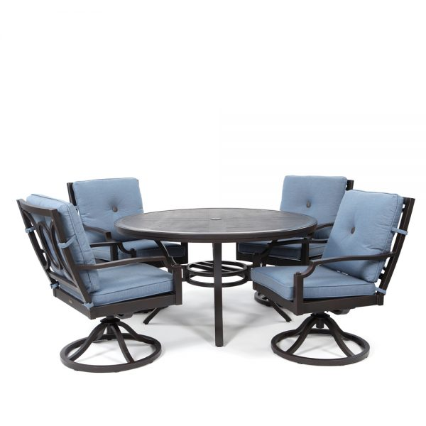 Bellevue 5 piece swivel rocker dining set with Spectrum Denim cushions