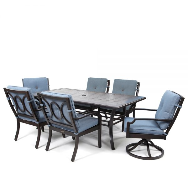 Bellevue 7 piece dining set with Spectrum Denim fabric