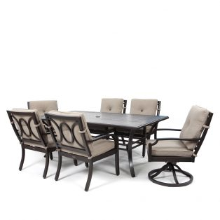 Bellevue 7 piece dining set with Sailcloth Shadow fabric